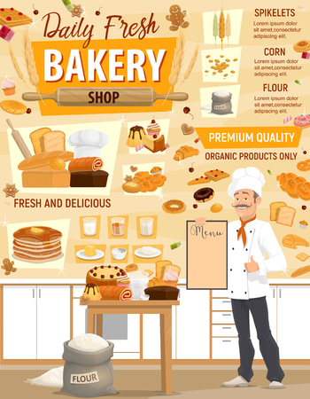 Bakery or baker shop, pastry and baking ingredients at kitchen. Vector design of baker man in chef hat with wheat bread, bagel or croissant and bun, chocolate donut and dough from flour bag