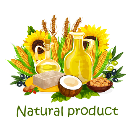 Natural cooking vegetable oil and nut butters, healthy cooking. Vector organic oil bottle of extra virgin olive, sunflower seed or coconut and corn or flax and hemp