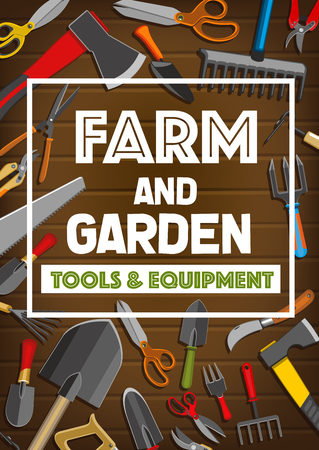 Farm tools and garden equipment poster for gardener shop. Vector frame design of gardening hammer, secateurs scissors or spade and rake with hoe hack or pitchfork and saw with hatchet ax
