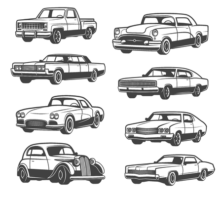 Retro auto's en voertuigtypes. Vector geïsoleerde iconen van vintage vervoer taxi cab, sport auto of limousine en oude pick-up truck of luxe premium sedan, auto service thema ontwerp Vector Illustratie