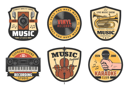 Music icons for musical instruments store, records label or festival and recoding studio or karaoke club. Vector microphone, speaker and vinyl disk or synthesizer with violin contrabass or music notes
