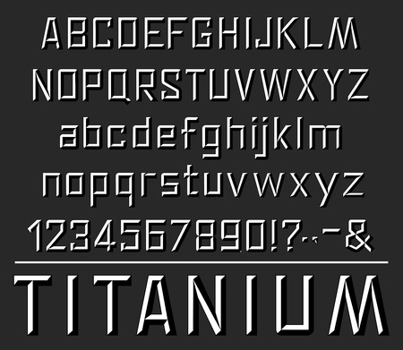 Titanium font letters. Vector embossing or silver metal texture design of uppercase, lowercase alphabet, numbers or special symbols and punctuation marks and signs Çizim