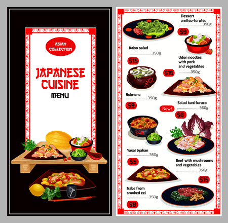Japanese cuisine traditional food menu. Vector Asian food bento lunch of kaiso salad, amitsu-furutsu dessert of udon noodles with pork and vegetables, suimono or kani furuko and yasai tyahan Illustration