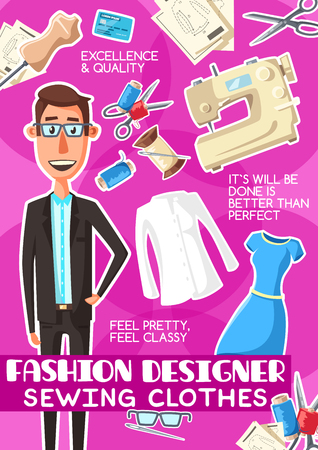 Fashion designer man profession poster. Vector dressmaker or tailor in glasses in suit with sewing machine, dress on dummy mannequin with thread and needle and scissors for tailoring