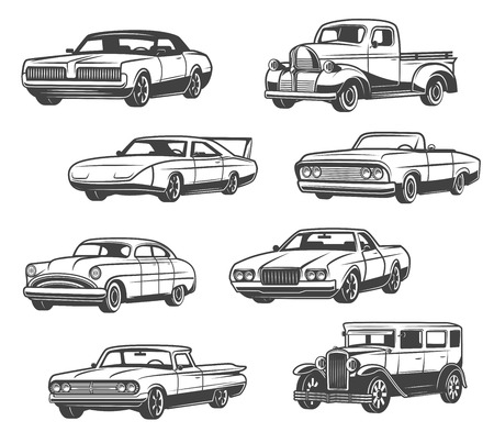 Retro cars and vintage automobile models. Vector isolated icons of antique minivan or passenger coach with taxi cab or sport car cabriolet with retractable hood and old luxury limousine