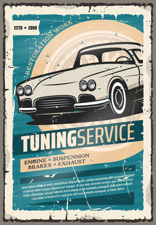 Car tuning service retro advertisement poster. Vector design of vintage car for auto repair and mechanic diagnostic station on engine, exhaust or suspension and brakes pimping up
