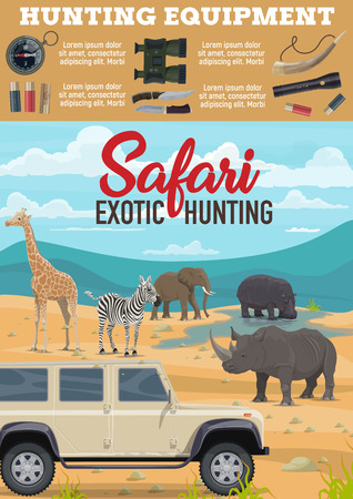 African Safari hunting equipment for savanna wild animals hunt. Vector poster of hunter off-road truck car, binoculars and bullets for giraffe, rhinoceros or elephant and hippopotamus in Africa