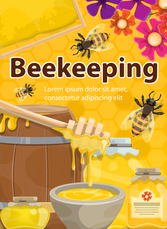 Honey beekeeping poster of honeycomb, wooden barrel and jar with honey drops and dipper spoon. Vector bees swarm from hive on flowers for beekeeper or apiary farm design