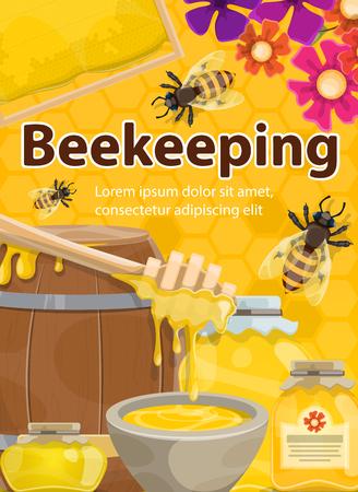Affiche d'apiculture au miel en nid d'abeille, tonneau en bois et pot avec gouttes de miel et cuillère à louche. Les abeilles vectorielles pullulent de la ruche sur les fleurs pour la conception de la ferme apicole ou rucher