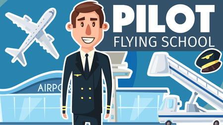 Pilot profession or flying school advertisement poster for aviation study. Vector cartoon aviator man in uniform and pilot cap, aircraft or airplane with passenger ladder at airport