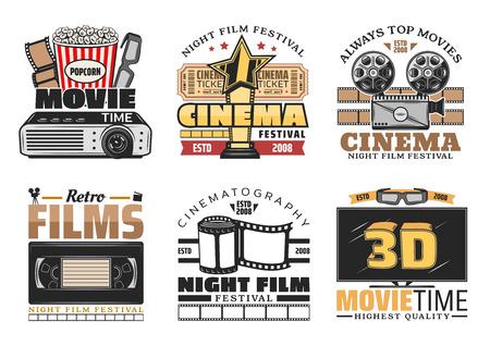 Film, Retro-Kino, Bar-Bistro-Vektorikonen. Weinlesedesign des Popcorn-Eimers, der 3D-Brille und des Films, des Kamera- und Videoplayers oder des Projektors, der Nachtfilmfestivalsymbole Vektorgrafik