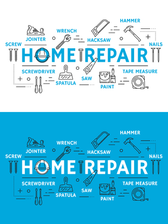 Home repair and renovation or construction tools. Vector thin line carpentry hammer or saw, electric drill or screwdriver and bolts, jointer and paint brush or woodwork grinder. Vector equipment icons