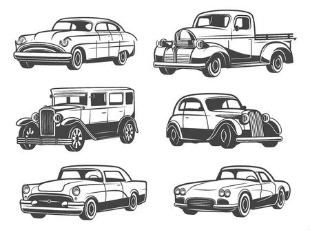 Auto retrò e modelli di veicoli d'epoca d'epoca. Icone isolate di vettore di taxi di trasporto, auto sportive e minivan, vecchia berlina di lusso o limousine. Temi di show car e servizi di auto
