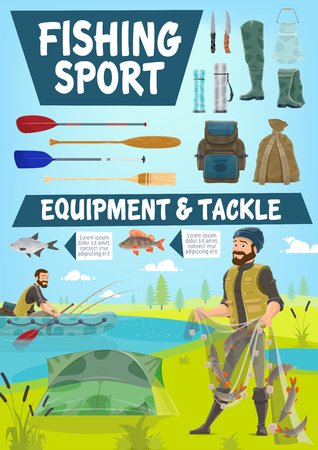Fishing sport cartoon poster of fisher man with equipment and tackles. Vector fisherman with fish catch in net or in rubber boat with rods and paddles, waders and thermos or haversack and knife Illustration