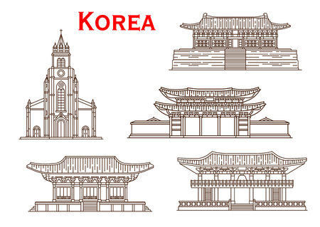 Korea famous historic architecture buildings and temples. Vector thin line facades of Haeinsa, Changgyeong palace in Seoul, Bulguksa monastery or Bosingak bell tower and Myeongdong cathedral