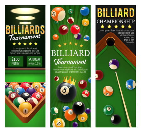 Billiard championship or snooker pool tournament announcement banners. Vector design of billiard balls on green table with cues and triangle rack or golden stars for sport game team or league contest Archivio Fotografico - 108968547