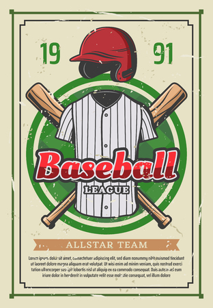 Baseball league or college team poster. Vector retro vintage design of baseball player outfit uniform, safety helmet hat and bat with ball for sport game or cup championship