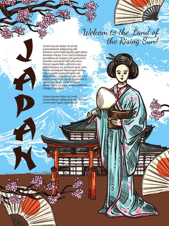 Japan travel sketch poster of Japanese traditional symbols. Vector geisha woman in kimono with fan at Fuji mount and pagoda temple with blooming sakura cherry blossom and hieroglyph ornament 向量圖像