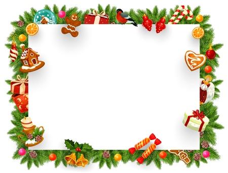 Rahmen für Weihnachtsferienkarte mit Leerzeichen für Grußschild. Lebkuchen und Kerze, Geschenkbox und Orange, Gimpel und Zuckerrohr Süßigkeiten. Jingle Glocken und Engelsstatue mit Schneeballvektor