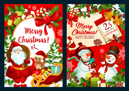 Merry Christmas winter season greeting card design for happy holiday wishes. Vector Christmas tree decorations, snowman and Santa with present gifts, owl and golden bells in New Year season snow