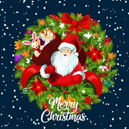Merry Christmas greeting card of Santa with gifts bag and Xmas tree wreath with red ribbon and decorations. Vector New Year ornaments on snowflakes blue background Çizim