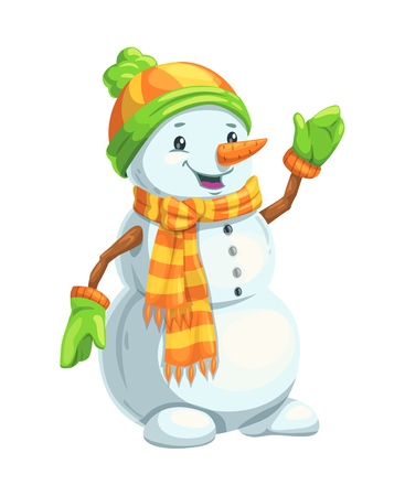 Christmas snowman with scarf, hat and mittens, carrot nose and wooden arms. Winter holidays cartoon character for Xmas and New Year greeting card design Illusztráció