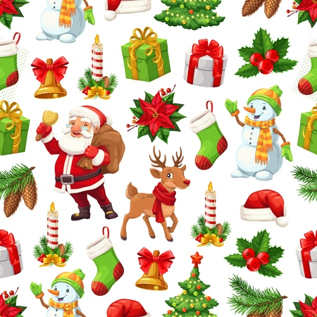 Christmas pattern background of New Year celebration symbols. Vector seamless design of cartoon Xmas tree, Santa and snowman with New Year gifts, stocking sock and wreath ribbon on reindeer bell Ilustrace