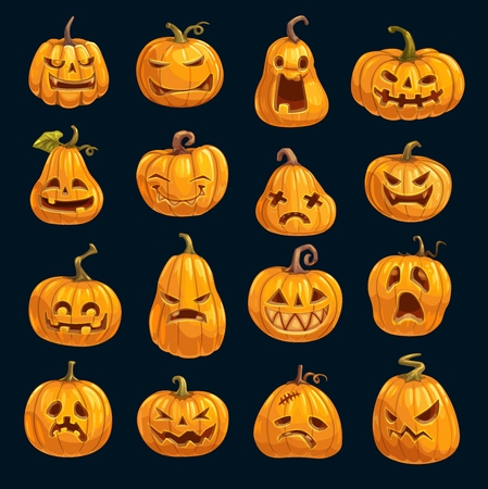 Halloween cartoon pumpkins isolated icons. Vector Happy Halloween greeting card and trick or treat party invitation design of pumpkin lantern monsters with fire eyes and evil face carving