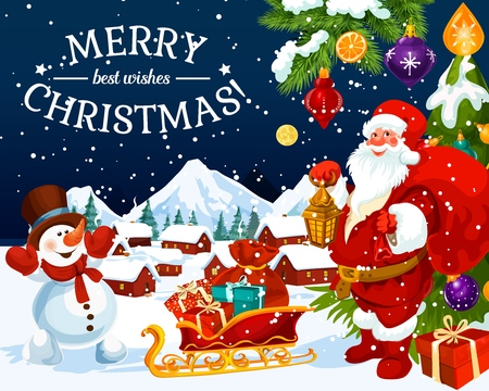 Merry Christmas greeting card and New Year best wishes design. Vector winter holiday Xmas tree with decorations, Santa and snowman with gifts bag on sleigh