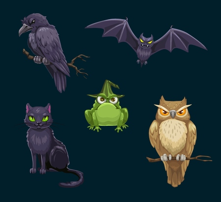 魔女、コウモリとフクロウ、怖いホラーカラス、カエルとカラス漫画のキャラクターのハロウィーン黒猫。怖い夜の動物や鳥、10月の休日のテーマデ