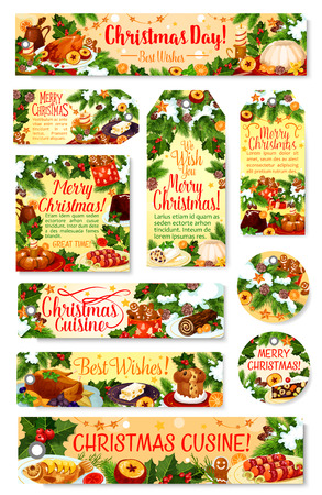 Christmas dinner tag and label with festive dish. Xmas turkey, cookie and mulled wine, cake, pudding and gingerbread greeting card, adorned with Christmas tree and holly branch, snow, star and candle Illustration