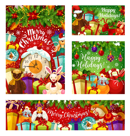 Christmas holiday gift greeting card with New Year garland. Present box with ribbon bow, midnight clock and snowflake festive banner, adorned by Xmas tree and holly branch, ball, toy and poinsettia Illustration