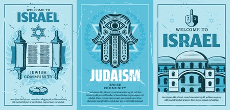 Travel to Israel posters with Judaism religion symbols. Star of David and holy torah scroll, Fatimas hand amulet, synagogue and architecture building. Vector retro brochures for Jewish community Illustration