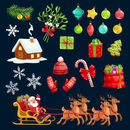 Christmas objects for winter holiday. Santa Claus in carriage with deers and sack of presents, hat with mittens and cane candy. Xmas tree decorations and gift box, cookie and mistletoe or fir vector Ilustração