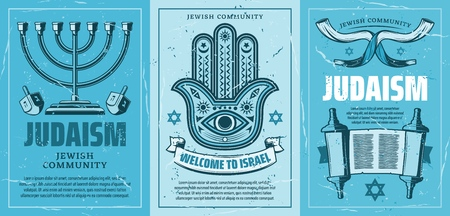 Welcome to Israel posters with Judaism religion attributes. Candlestick and Fatimas hand amulet, Torah book and holy scroll, star of David. Vector retro brochures for travel company, invitation
