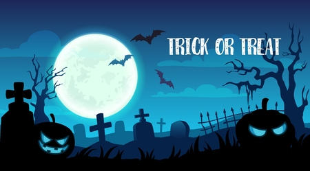Happy Halloween trick or treat party greeting card. Vector design of pumpkin skull, bats on grave tombstones and full moon in night cemetery background Illustration