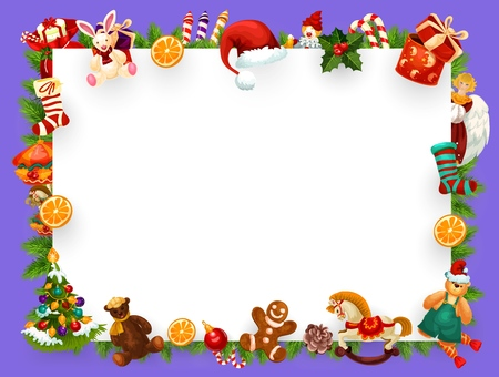 Christmas or New Year greeting card empty blank of Xmas decorations frame. Vector winter holiday background design of Christmas tree ornaments, toys and New Year Santa gifts