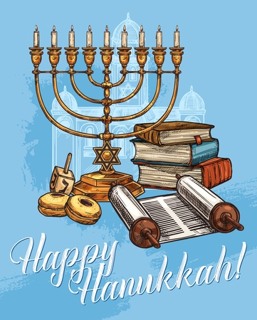Happy Hanukkah greeting card, Jewish religious traditional holiday. Vector sketch design of Menorah candles, holy Torah book and scroll with dreidel spinning top and synagogue on blue background Stock Illustratie