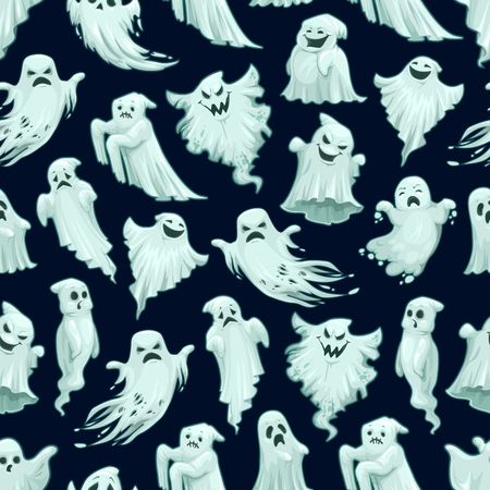 Halloween scary ghost pattern background of flying white ghost monster with scary horror face face. Vector cartoon seamless trick or treat party black design Illustration