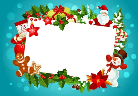 Christmas winter holiday greeting card empty blank in frame of Xmas gifts. Vector design of Santa at Christmas tree with New Year decorations, holly or pine and fir cones in snowflakes