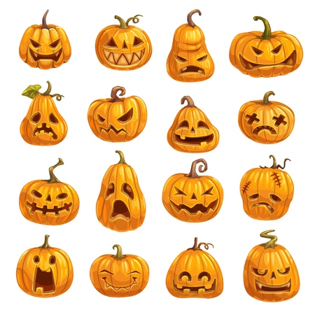 Halloween pumpkins with emotional faces. Autumn holiday symbol or lantern made of vegetable, night of evil spirits rise decoration. Sad and angry, cunning and happy, disappointed and shocked vector Illustration