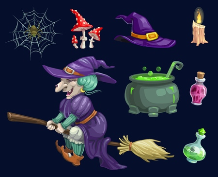 Halloween witch and witchcraft symbols, magic potion pot or cauldron, spider in web amanita and cemetery candle. Vector isolated cartoon design for Happy Halloween greeting card Illusztráció