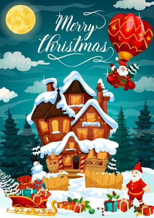 Holiday greeting card with Merry Christmas wish. House under snow in forest and Santa Claus on air balloon, harness with gifts or presents. Snowman in hat and moon, garden dwarf and garland vector