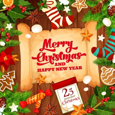 Frohe Weihnachten Grußkarte mit Happy New Year Wunsch auf Papierrolle. Vektorwinterferienentwurf des Kalenders, der Weihnachtsbaumdekorationen und der Weihnachtsgeschenke in der Strumpfsocke Vektorgrafik