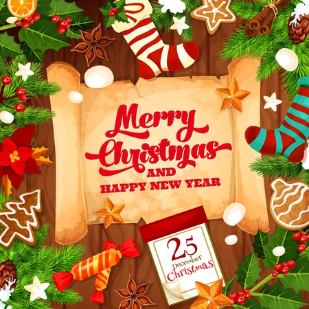 Merry Christmas greeting card with Happy New year wish on paper scroll. Vector winter holiday design of calendar, Xmas tree decorations and Santa gifts in stocking sock Standard-Bild - 109651101