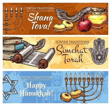 Happy Hanukkah, Shana Tova or Rosh Hashanah New Year and Simchat Torah Jewish religious holidays sketch design. Vector cards of Jewish celebration symbols, Menorah candle, Torah scroll and shofar horn Illustration