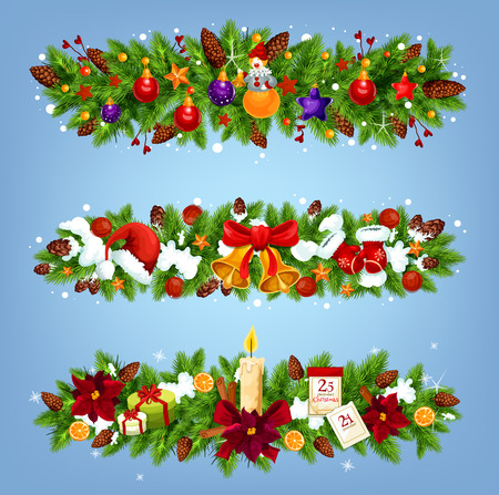 Christmas festive garland with Xmas gift and New Year ornaments. Xmas tree border with bell, candle and ribbon bow, Santa hat, glove and snowflake, calendar, present and ball for winter holiday design