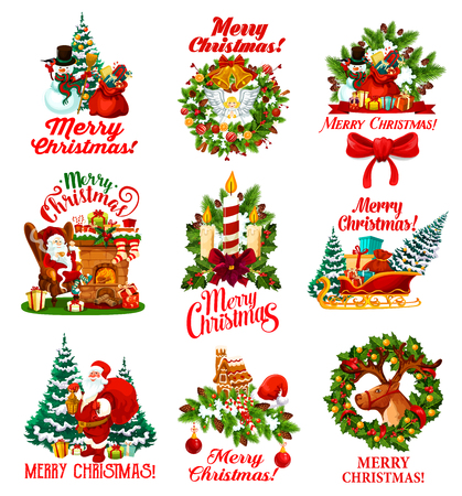 Merry Christmas greeting wishes icons of winter holidays symbols. Vector Santa with New Year gifts bag and decorations at Christmas tree with snowman on deer sleigh and gingerbread cookies