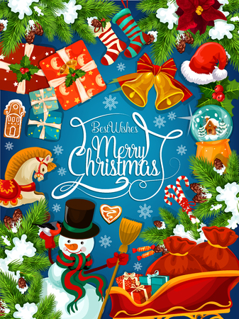 Merry Christmas festive poster with Santa sleigh and gift. Snowman, Xmas tree and presents greeting card with frame of holly and fir branch, snowflake, Santa hat and ribbon bow, sock, cookie and snow