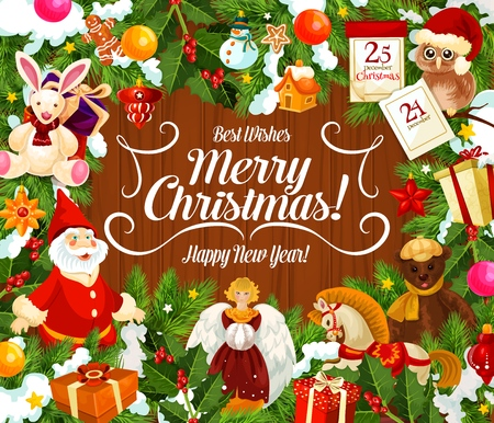 Merry Christmas wish for winter holidays celebration greeting card. Vector animal toys and gifts, Xmas tree decorations and angel, dwarf and owl in Santa hat. Calendar, holly berry and lantern
